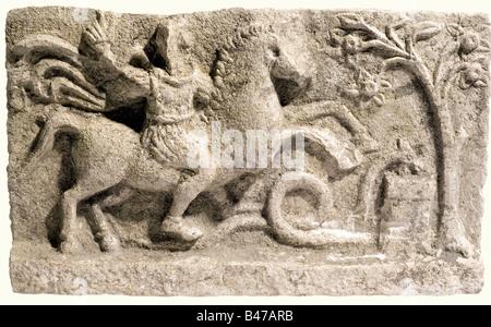 An Apollo marble relief, Roman, 2nd-3rd century A.D. Apollo on horseback beside Aesculapian snake and altar, the - Stock Photo