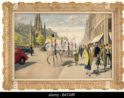Jacobus van Rossum (born 1881), Officers of the Grenadier Guards in Edinburgh Oil on wood. Scene of a busy street - Stock Photo