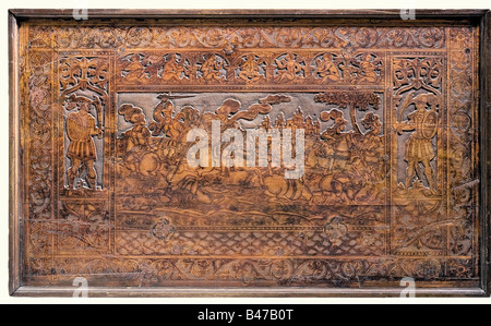 A wooden panel with a battle scene, German, middle of the 17th century Heavy hardwood panel made up of three planks - Stock Photo