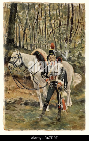 Max Hünten (1869 - 1936)., Hussar of the Napoleonic period. Oil on canvas. Hussar with horse in a forest. Unsigned - Stock Photo