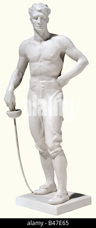 The fencer., White bisque porcelain figure. On the base plate the recessed artist's signature 'O. Obermaier', on - Stock Photo