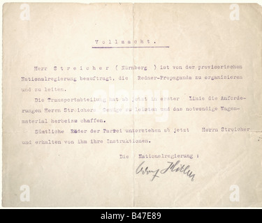 Adolf Hitler - certificate of authority for Julius Streicher., DIN A4 sheet cut in half, with typewritten text (transl.) - Stock Photo