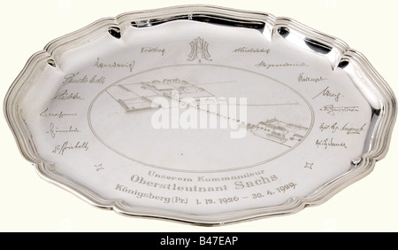 Gifts dedicated to Generalleutnant (Lieutenant General) Ernst Sachs, later SS-Obergruppenführer. Oval silver plate - Stock Photo