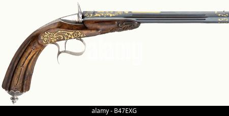 A percussion salon pistol, Gilles Mariette, Liège, dated 1857. Reblued fluted smooth bore barrel in 6 mm calibre, - Stock Photo
