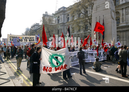 A demonstration against the Iraq war held on 12/04/2003 opposite the Cenotaph in Whitehall, London - Stock Photo