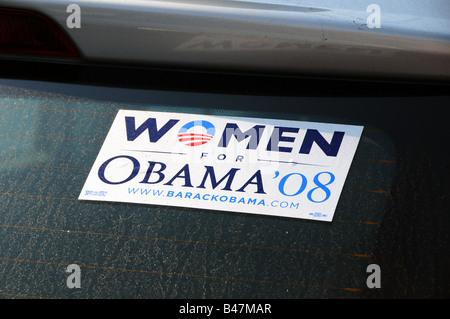 Barack Obama campaign sticker on a car - Stock Photo