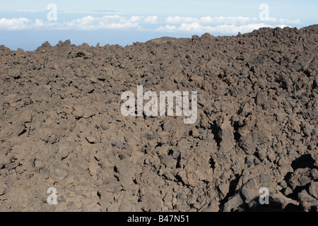 The magma field at the start of the walking route from Teide down over the Pico Viejo to the roadway in the Las - Stock Photo