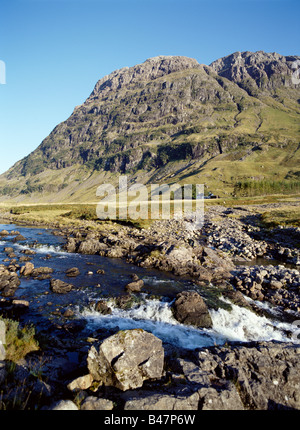 dh River Coe GLENCOE ARGYLL Three Sisters mountains fresh flowing waterfall rapids rugged scotland