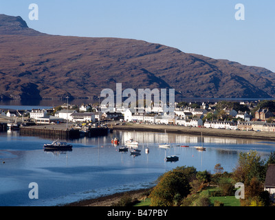 dh Loch Broom fishing harbour ULLAPOOL ROSS CROMARTY Yachts boats west coast of Scotland coastal town