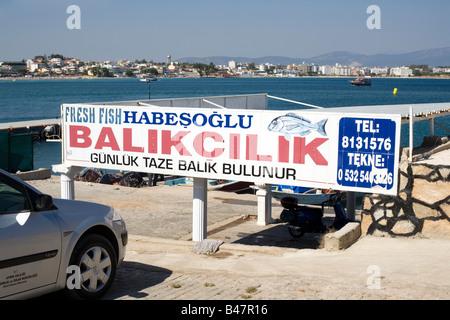 Sign for fresh fish sales Didim, Altinkum, Turkey, Eurasia, Asia Minor - Stock Photo