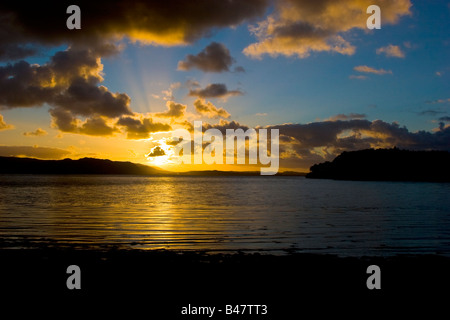 Sunset over Loch Ewe at Poolewe Wester Ross, Highlands Scotland United Kingdom Great Britain UK 2008 - Stock Photo