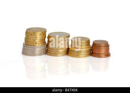 Stack of euro coins of different height with reflection on the table isolated on white background - Stock Photo