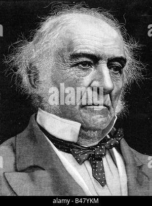Gladstone, William Ewart, 29.12.1809 - 19.5.1898, British politcian, British Liberal Party, portrait, xylography - Stock Photo