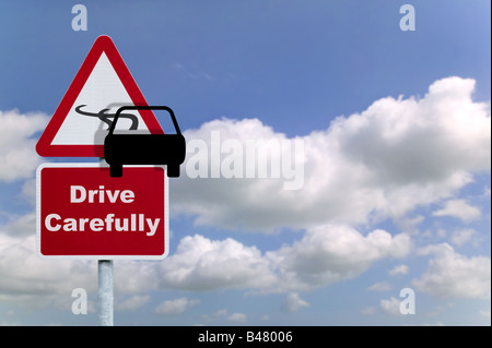 Drive carefully road sign - Stock Photo