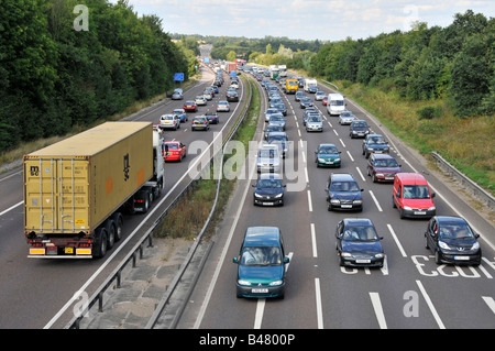 A12 trunk road slow stop start traffic flow during Friday afternoon rush hour - Stock Photo