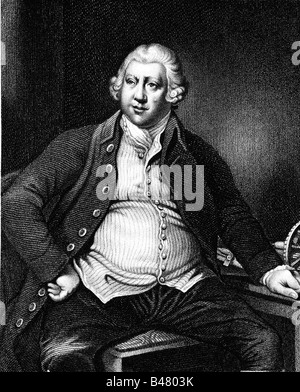 Arkwright, Richard, Sir, 23.12.1732 - 3.8.1792, British inventor and businessman, half length, steel engraving by - Stock Photo