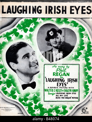 Laughing Irish Eyes music sheet cover for the title song of the 1936 movie sung by Phil Regan - Stock Photo