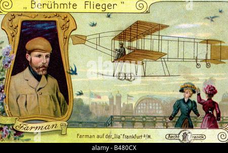 Farman, Henri, 20.5.1874 - 18.7.1958, French aviator, with his aircraft Voisin-Farman I at the International Aviation - Stock Photo