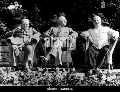 events, Second World War / WWII, conferences, Potsdam Conference 17.7.1945 - 2.8.1945, Joseph Winston Churchill, - Stock Photo