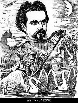 Ludwig II, 25.8.1845 - 13.6.1886, King of Bavaria 10.3.1864 - 13.6.1886, half length, caricature, as 'King Lohengrin', - Stock Photo