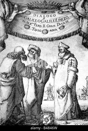 Galilei, Galileo, 15.2.1564 - 8.1.1642, Italian phyisicist, work 'Dialogo di Galileo Galilei Linceo', dedicated - Stock Photo