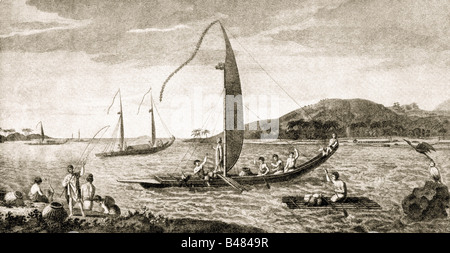 Cook, James, 27.10.1728 - 14.2.1779, English sailor and discoverer, journey, habitant of Otahiti in their boats, - Stock Photo