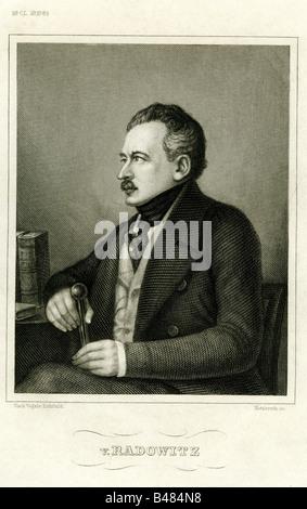Radowitz, Joseph, von, 6.2.1797 - 5.12.1853, Prussian politician, half length, sitting, steel engraving by Metzeroth, - Stock Photo