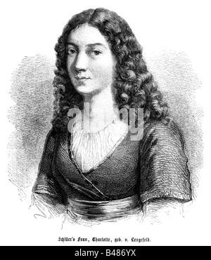 Schiller, Friedrich, 10.11.1759 - 9.5.1805, German author / writer, his wife Charlotte von Lengefeld, portrait, - Stock Photo