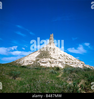 geography / travel, USA, Nebraska, Chimney Rock, rock at Oregon Trail, rock formation, special geological formations, - Stock Photo