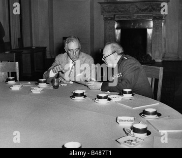 events, Second World War / WWII, conferences, Yalta Conference, 4.2.1945 - 11.2.1945, Franklin D. Roosevelt and - Stock Photo