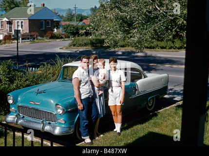 Chevrolet Bel Air, family group with baby, USA, 1961 - Stock Photo