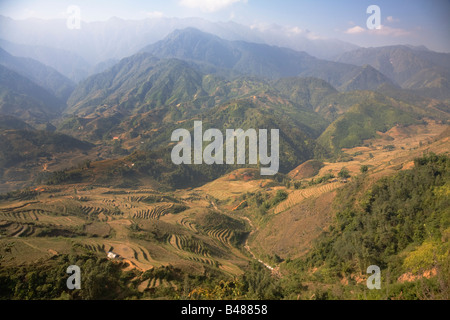 Terraced rice fields in Lao Chai village near Sapa town Vietnam - Stock Photo
