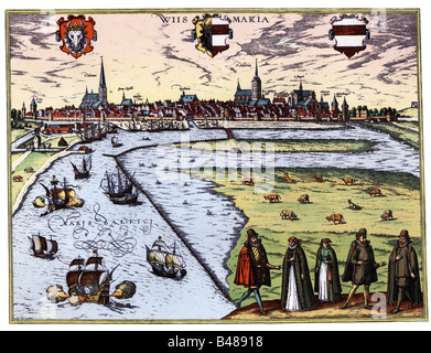 geography / travel, Germany, Wismar, city views / cityscapes, Bay of Wismar, coloured engraving by Franz Hogenberg, - Stock Photo