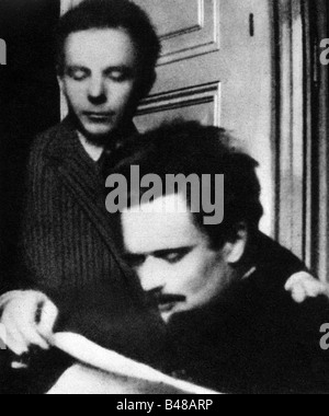 Bartok, Bela 25.3.1881 - 26.9.1945, Hungarian composer, half length with Zoltan Kodaly, 1908, , Additional-Rights - Stock Photo