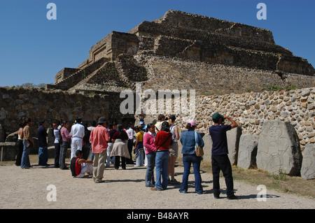 Tourists Monte Alban Oaxaca Mexico - Stock Photo