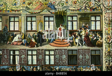 geography / travel, Germany, cities, Augsburg, Fuggerhäuser (palace of family Fugger), detail, fresco by Hans Burgkmair - Stock Photo