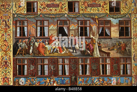 geography / travel, Germany, cities, Augsburg, houses of Fugger (palace of family Fugger), detail, fresco by Hans - Stock Photo