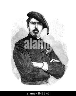 Carlos Maria de los Dolores, 30.3.1848 - 18.7.1909, clairmant to the Spanish Throne 13.1.1861 - 18.7.1909, half - Stock Photo