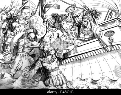 events, Greco-Persian Wars, 499 - 448 BC, 'Battle of Marathon', 12.9.490 BC, copper engraving, 'Vorzeit und Gegenwart', - Stock Photo