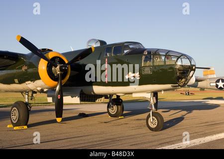 B25 Bomber on display at Willow Run airport Thunder over Michigan airshow - Stock Photo