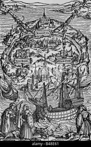 More, Thomas Sir, 7.2.1478 - 6.7.1535, English politician, author, work 'Utopia', illustration, 1516, island utopia, - Stock Photo