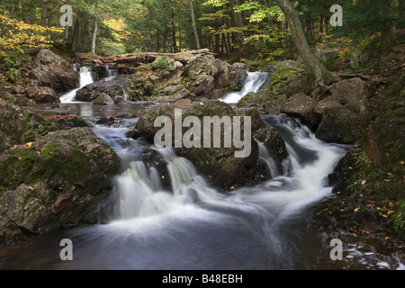 Overlooked Falls Waterfall in Porcupine Mountain State park, Michigan - Stock Photo