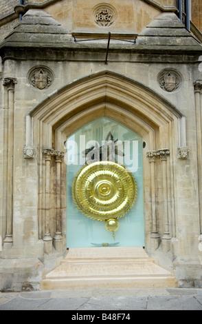 the new Grasshopper or Corpus Christi Clock, Kings Parade, cambridge UK - Stock Photo