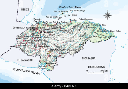 Cartography, maps, America, Honduras, circa 2000, Additional-Rights-Clearance-Info-Not-Available - Stock Photo