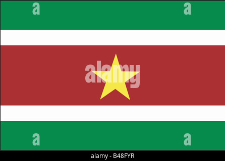 heraldry, emblem, Suriname, national flag, introduced: 25.11.1975, Additional-Rights-Clearance-Info-Not-Available - Stock Photo