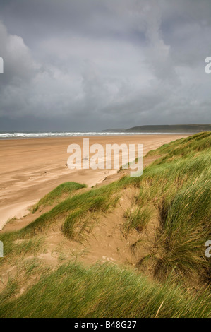 beach and sand dunes as braunton burrows - Stock Photo
