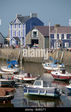 Aberaeron Ceredigion Wales UK, with the Harbourmaster hotel on the quayside, summer afternoon, yachts in the harbour - Stock Photo