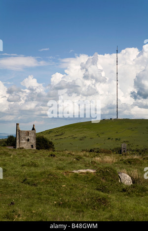 caradon hill and transmitter bodmin moor cornwall - Stock Photo