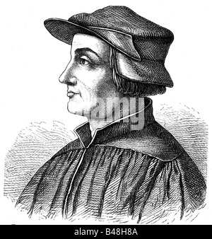 Zwingli, Ulrich, 1.1.1484 - 11.10.1531, Swiss religious reformer, engraving,  , Additional-Rights-Clearances-NA - Stock Photo