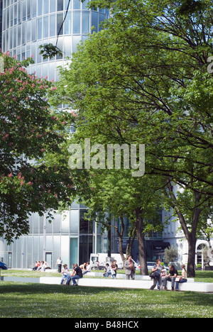 Park in front of the office building GAP15 at the Graf Adolf Platz in Duesseldorf Germany - Stock Photo